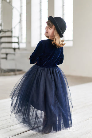 Navy Blue Félicie High-Low Girls Tutu Skirt - LAZY FRANCIS - Shop in store at 406 Kings Road, Chelsea, London or shop online at www.lazyfrancis.com