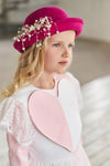 Pink & White Satin Flared Girls Heart Dress with White French Lace - LAZY FRANCIS - Shop in store at 406 Kings Road, Chelsea, London or shop online at www.lazyfrancis.com
