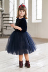 Navy Blue Velvet Top Girls Tutu Dress with Rose Embroidery