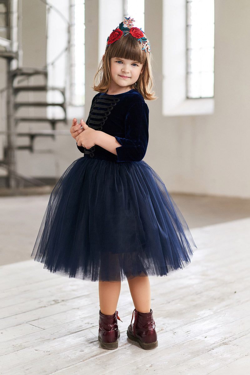 Navy Blue Velvet Top Tin Soldier Girls Tutu Dress - LAZY FRANCIS - Shop in store at 406 Kings Road, Chelsea, London or shop online at www.lazyfrancis.com