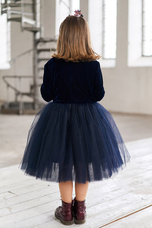 Marie Girls Tutu Skirt in Navy Blue - LAZY FRANCIS - Shop in store at 406 Kings Road, Chelsea, London or shop online at www.lazyfrancis.com