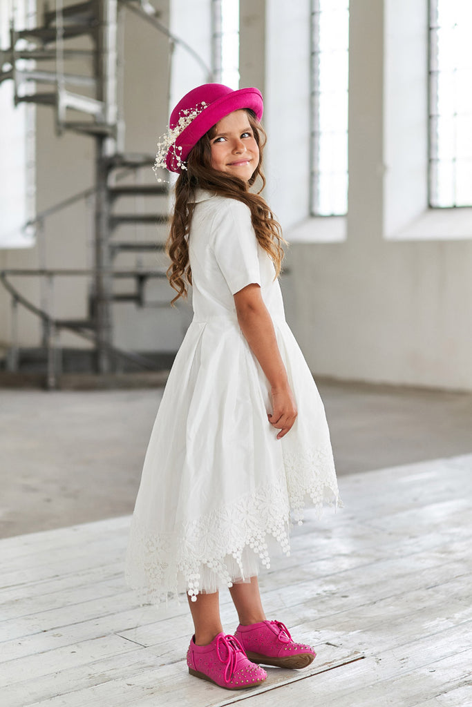 White High-Low Taffeta Girls Dress with French Lace