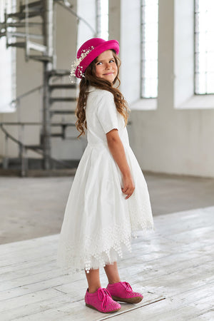 White High-Low Taffeta Girls Dress with French Lace - LAZY FRANCIS - Shop in store at 406 Kings Road, Chelsea, London or shop online at www.lazyfrancis.com