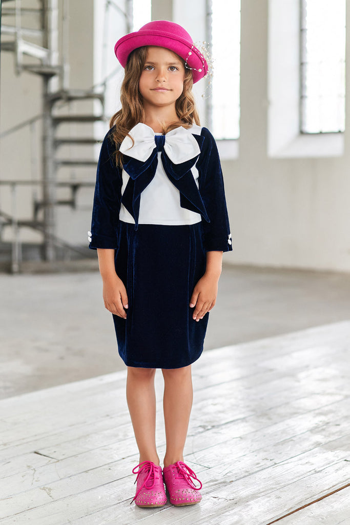 White Satin and Navy Velvet Pencil Dress with a Bow - LAZY FRANCIS - Shop in store at 406 Kings Road, Chelsea, London or shop online at www.lazyfrancis.com