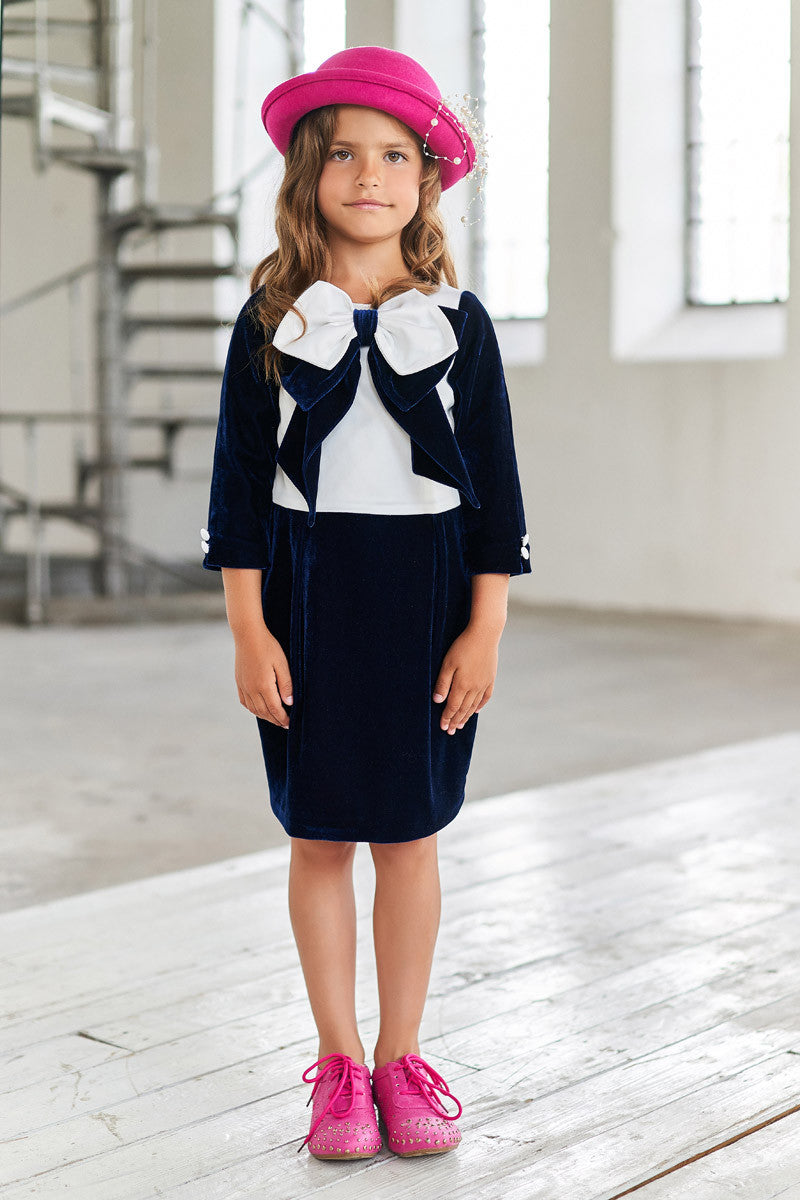 White Satin and Navy Blue Velvet Pencil Dress with a Bow - LAZY FRANCIS - Shop in store at 406 Kings Road, Chelsea, London or shop online at www.lazyfrancis.com