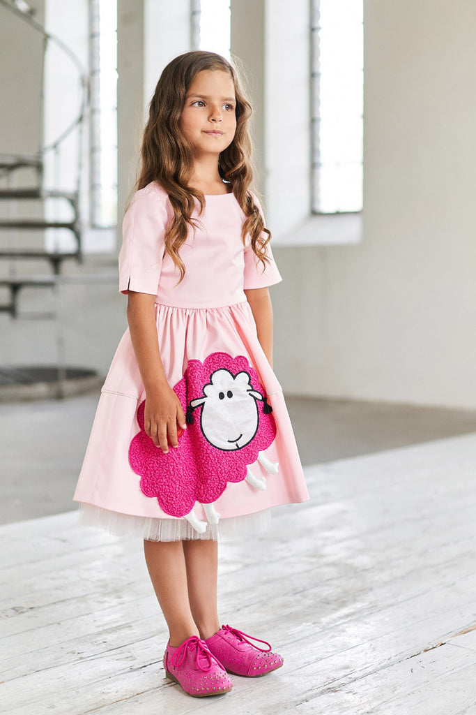 Pink Satin Full Girls Dress with Pink Sheep Appliqué - LAZY FRANCIS - Shop in store at 406 Kings Road, Chelsea, London or shop online at www.lazyfrancis.com