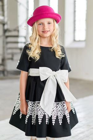 Red Taffeta Full Girls Dress with White French Lace - LAZY FRANCIS - Shop in store at 406 Kings Road, Chelsea, London or shop online at www.lazyfrancis.com
