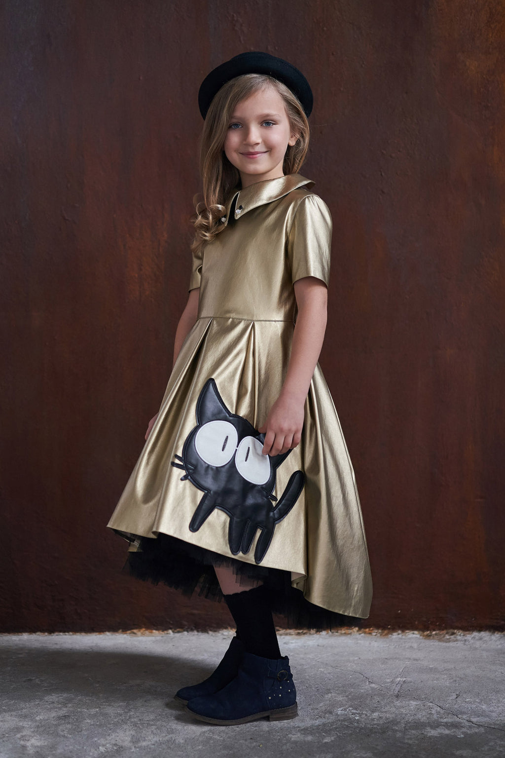 Gold Faux Leather High-Low Girls Dress with Cat Appliqué - LAZY FRANCIS - Shop in store at 406 Kings Road, Chelsea, London or shop online at www.lazyfrancis.com