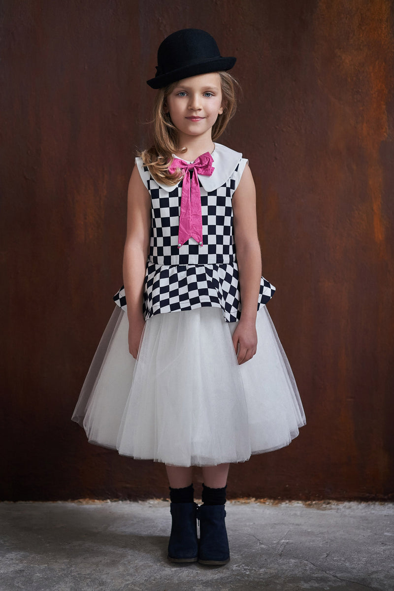 Checkered Peplum White Tutu Girls Dress - LAZY FRANCIS - Shop in store at 406 Kings Road, Chelsea, London or shop online at www.lazyfrancis.com