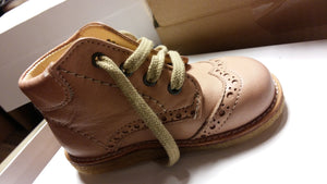 Dusty Peach  Leather First Steps Lace Up Baby Boots - Angulus - LAZY FRANCIS - Shop in store at 406 Kings Road, Chelsea, London or shop online at www.lazyfrancis.com