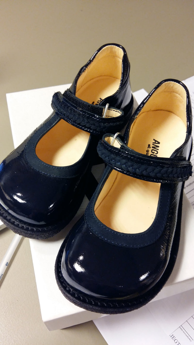 Patent Navy Mary-Jane Velcro Girls Shoes - Angulus - LAZY FRANCIS - Shop in store at 406 Kings Road, Chelsea, London or shop online at www.lazyfrancis.com
