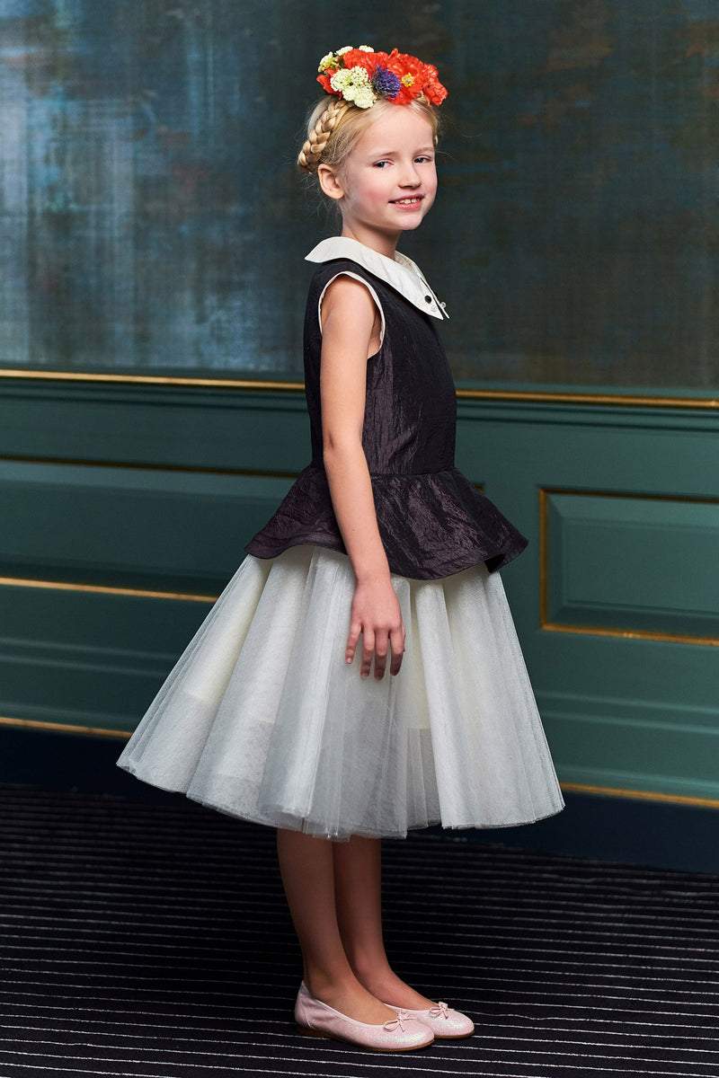 Black & White Peplum Girls Tutu Dress - LAZY FRANCIS - Shop in store at 406 Kings Road, Chelsea, London or shop online at www.lazyfrancis.com