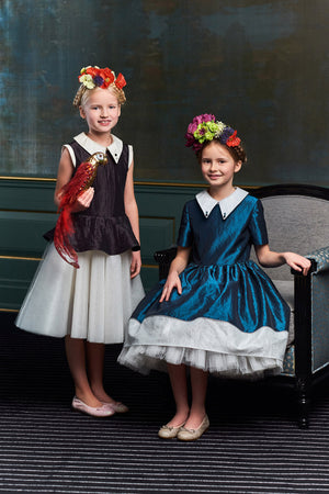 Ivy Navy Blue & White Taffeta High-Low Girls Dress with Tulle
