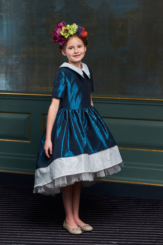 Navy Blue Full Girls Dress with White French Lace