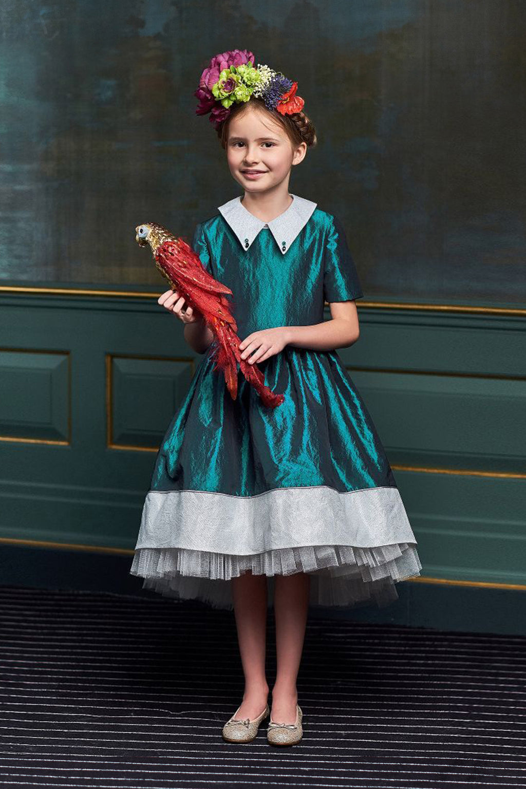 Ivy Teal & White Taffeta High-Low Girls Dress with Tulle Underskirt