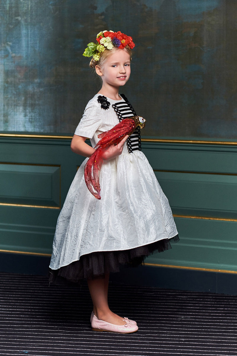 lazy francis high low Perfect special days luxurious white tafetta dress military style beautiful kids girls