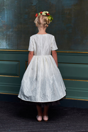 White & Black Taffeta Dress with Black Gem Stones & Hussar Embroidery - LAZY FRANCIS - Shop in store at 406 Kings Road, Chelsea, London or shop online at www.lazyfrancis.com