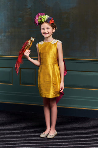 CELEBRITY DRESS! Ivy Raw Silk High-Low Girls Dress in Gold Silk