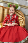 Elisabeth Flared Girls Dress in Red and Black Taffeta - LAZY FRANCIS - Shop in store at 406 Kings Road, Chelsea, London or shop online at www.lazyfrancis.com