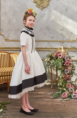 Gorgeous Ivory & Black Taffeta Girls High-Low Dress with Detachable Pleated Collar and ¾ Sleeves - LAZY FRANCIS - Shop in store at 406 Kings Road, Chelsea, London or shop online at www.lazyfrancis.com