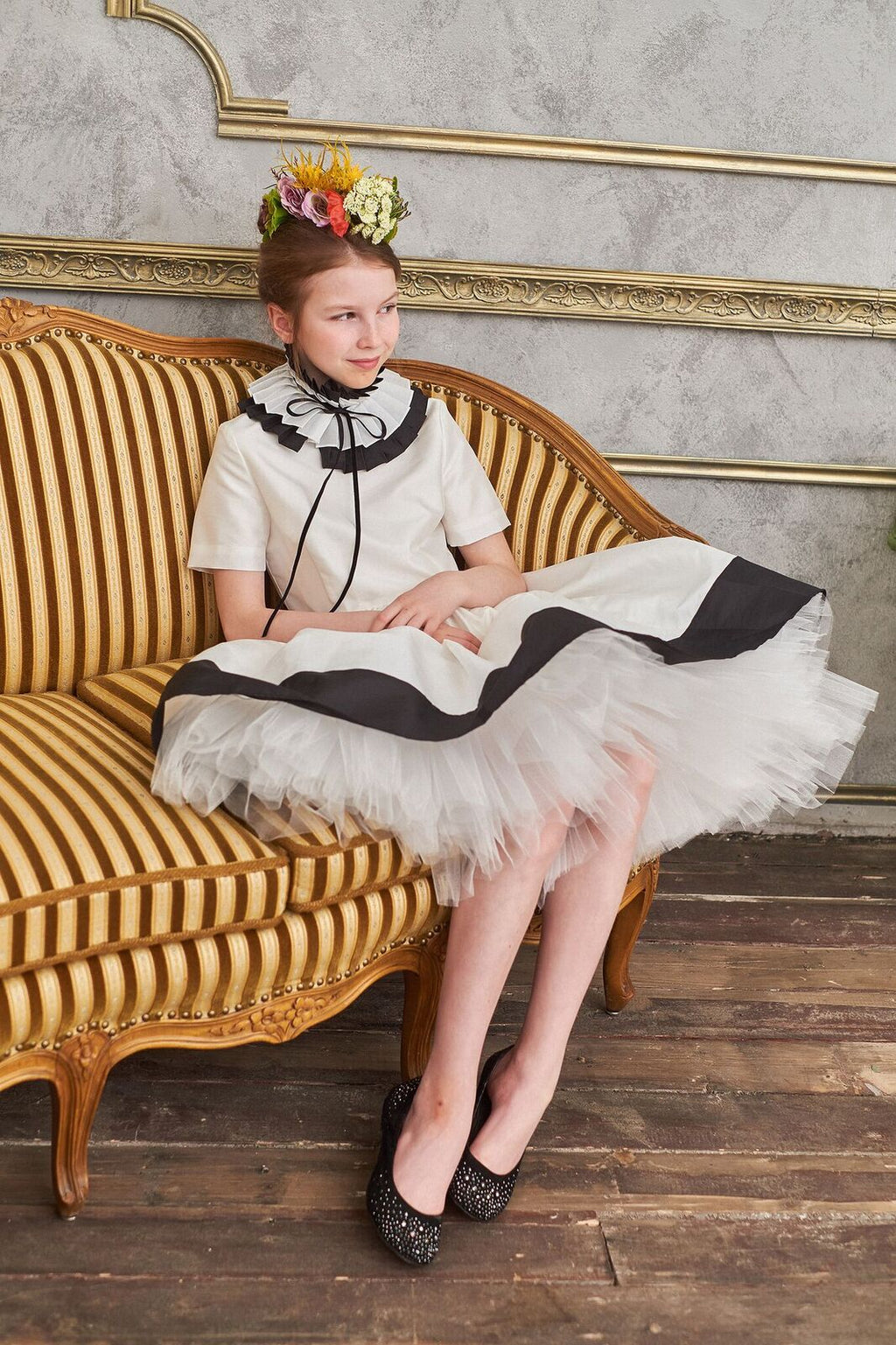 Gorgeous Ivory & Black Taffeta Girls High-Low Dress with Detachable Pleated Collar - LAZY FRANCIS - Shop in store at 406 Kings Road, Chelsea, London or shop online at www.lazyfrancis.com