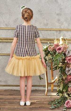 lazy francis Tweed Trapeze Dress with Gold Tulle Skirt and Lush Gold Bow