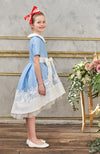 Aurora High-Low Taffeta Girls Dress in Sky Blue - LAZY FRANCIS - Shop in store at 406 Kings Road, Chelsea, London or shop online at www.lazyfrancis.com
