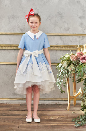 Aurora High-Low Taffeta Girls Dress in White - LAZY FRANCIS - Shop in store at 406 Kings Road, Chelsea, London or shop online at www.lazyfrancis.com