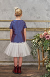 lazy francis Violet Satin Trapeze Dress with Lace and Tulle Skirt