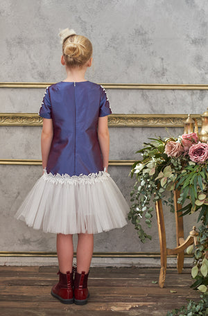 Secret Colour Trapeze Dress with Lace and Tulle Skirt - LAZY FRANCIS - Shop in store at 406 Kings Road, Chelsea, London or shop online at www.lazyfrancis.com