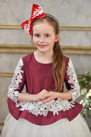 Red Bow Headband with White French Lace lazy francis accessory