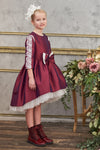 Plum Taffeta High Low Dress with Lush Bow and White Lace - LAZY FRANCIS - Shop in store at 406 Kings Road, Chelsea, London or shop online at www.lazyfrancis.com