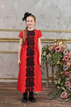 Lacey Maxi Girls Dress in Red Taffeta and Off White French Lace - LAZY FRANCIS - Shop in store at 406 Kings Road, Chelsea, London or shop online at www.lazyfrancis.com