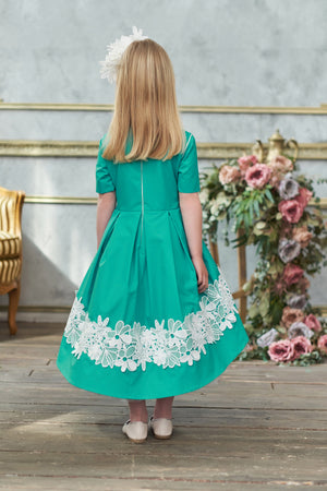 Turquoise High-Low Girls Dress with White Lace and Bow - LAZY FRANCIS - Shop in store at 406 Kings Road, Chelsea, London or shop online at www.lazyfrancis.com