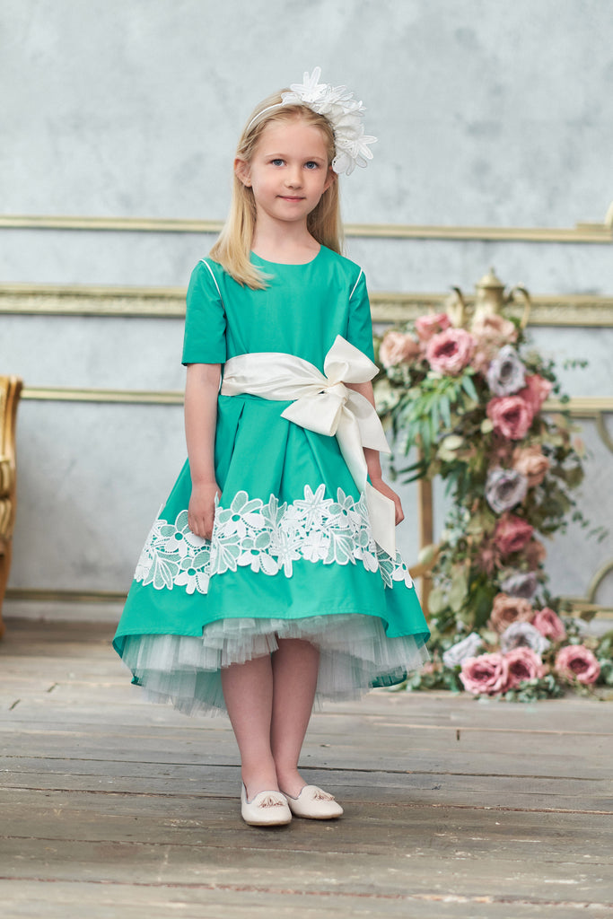 Turquoise High-Low Girls Dress with White Lace and Bow