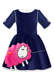 Navy Blue Taffeta Full Girls Dress with Pink Sheep Appliqué - LAZY FRANCIS - Shop in store at 406 Kings Road, Chelsea, London or shop online at www.lazyfrancis.com