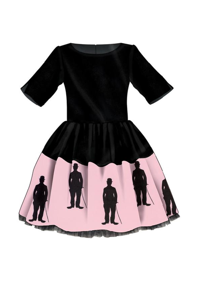 Black Dress with Exclusive Pink Cotton Charlie Chaplin Silhouette skirt with Lush Bow and Tulle Underskirt - LAZY FRANCIS - Shop in store at 406 Kings Road, Chelsea, London or shop online at www.lazyfrancis.com
