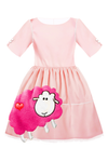 Pink Satin Full Girls Dress with Pink Sheep Appliqué