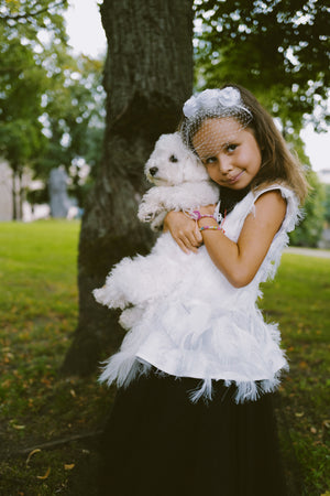Black & White Fluffy Girls Peplum Tutu Dress with White Collar ⋆Limited Edition