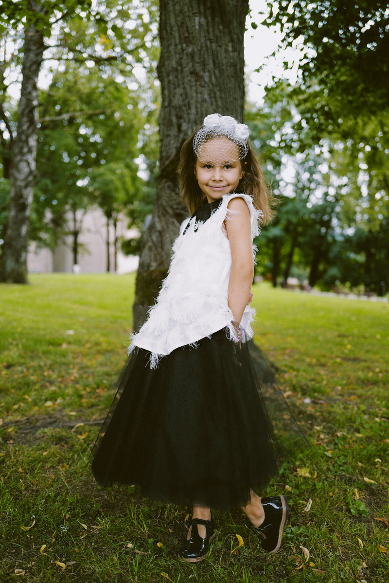 ⋆Limited Edition⋆ White & Black Fluffy Girls Peplum Tutu Dress with Black Collar