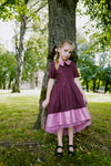 Elegant Bordo High-Low Girls Dress with Pink Eco Leather Details and Tulle Underskirt