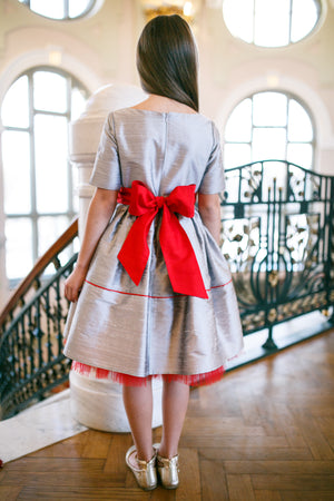 Silver Raw Silk Girls Dress with Red Bow and Red Tulle Underskirt - LAZY FRANCIS - Shop in store at 406 Kings Road, Chelsea, London or shop online at www.lazyfrancis.com