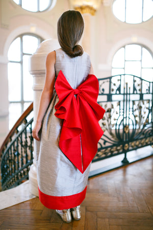 Silver Raw Silk Maxi Girls Dress with Red Bow - LAZY FRANCIS - Shop in store at 406 Kings Road, Chelsea, London or shop online at www.lazyfrancis.com