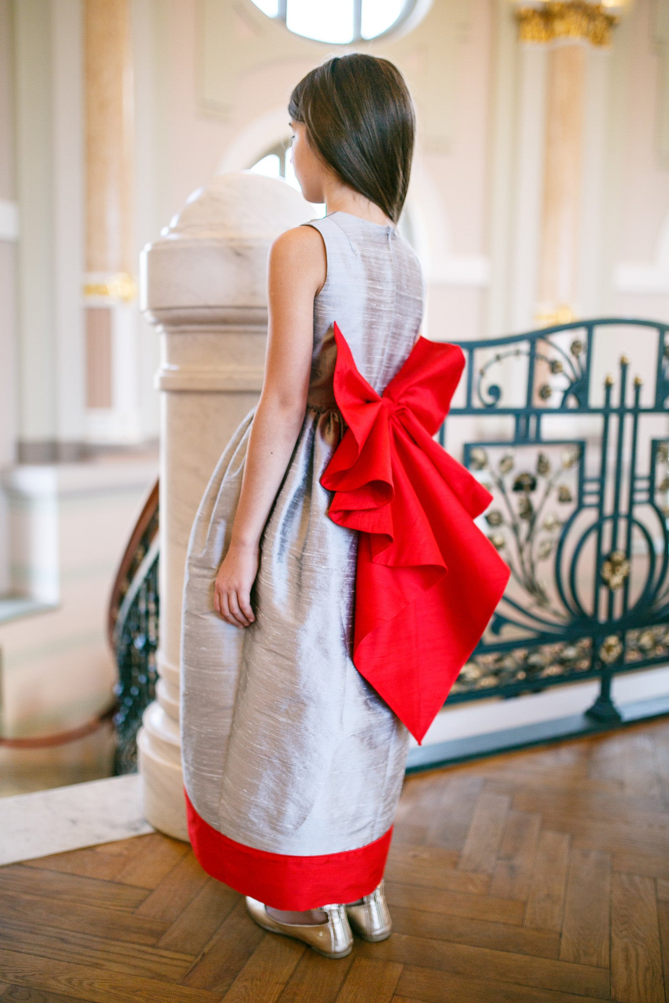 Silver Raw Silk Maxi Girls Dress with Red Bow