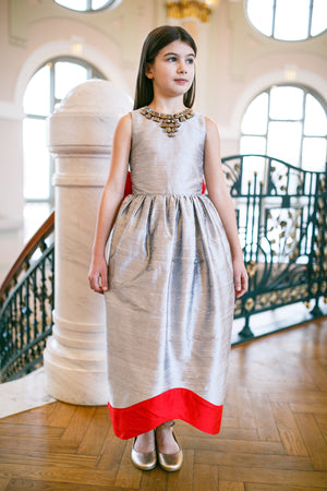 Silver Raw Silk Maxi Dress with Red Bow Exclusively for ChildrenSalon - LAZY FRANCIS - Shop in store at 406 Kings Road, Chelsea, London or shop online at www.lazyfrancis.com
