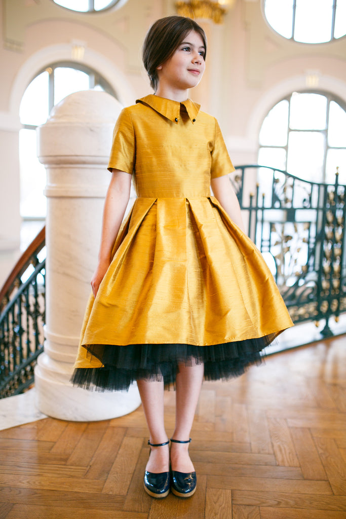Gold & Black Raw Silk High-Low Dress with Collar Exclusively for ChildrenSalon - LAZY FRANCIS - Shop in store at 406 Kings Road, Chelsea, London or shop online at www.lazyfrancis.com