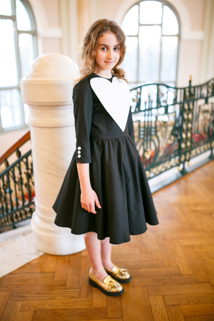 Girls Black Dress with White Heart Exclusively for ChildrenSalon - LAZY FRANCIS - Shop in store at 406 Kings Road, Chelsea, London or shop online at www.lazyfrancis.com