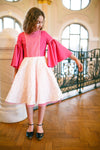 Hot Pink Dress with White Jacquard Skirt and Tulle Underskirt - LAZY FRANCIS - Shop in store at 406 Kings Road, Chelsea, London or shop online at www.lazyfrancis.com