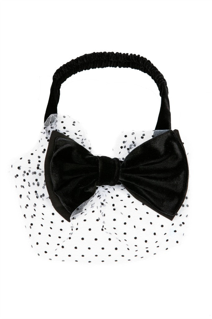 Black Velvet Bow Headband with Voile - LAZY FRANCIS - Shop in store at 406 Kings Road, Chelsea, London or shop online at www.lazyfrancis.com