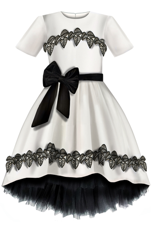 ⋆One Exclusive Dress Only⋆ Elegant Light Grey Ivory Eco Leather Girls High-Low Dress with Black French Flower Leaf Lace Details - LAZY FRANCIS - Shop in store at 406 Kings Road, Chelsea, London or shop online at www.lazyfrancis.com